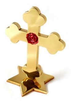 Cruz Rosacruz em latão